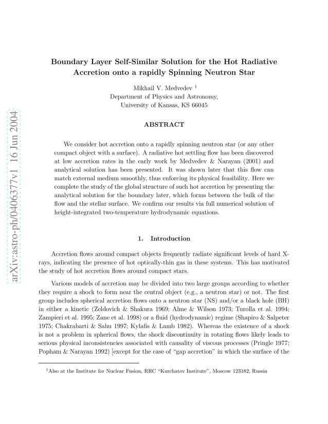 Mikhail V. Medvedev - Boundary Layer Self-Similar Solution for the Hot Radiative Accretion onto a Rapidly Spinning Neutron Star