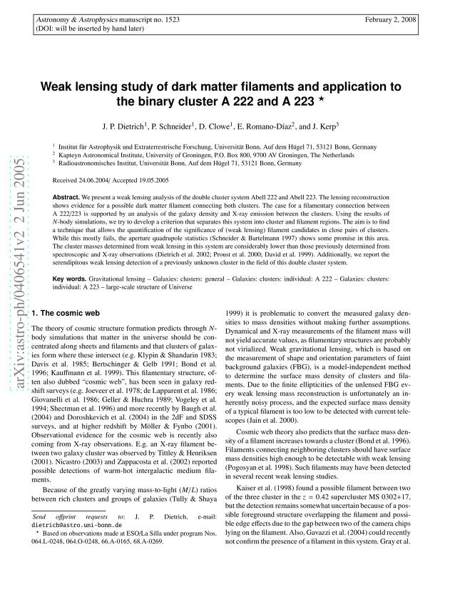 J. P. Dietrich - Weak lensing study of dark matter filaments and application to the binary cluster A 222 and A 223