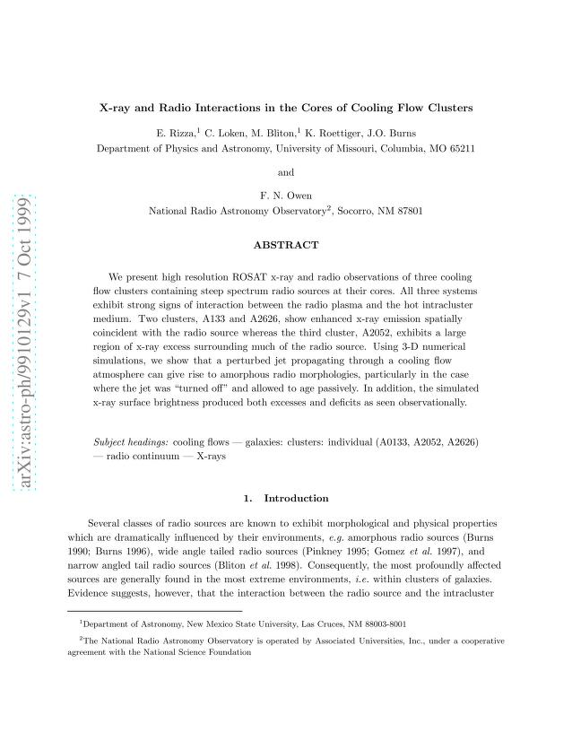 E. Rizza - X-ray and Radio Interactions in the Cores of Cooling Flow Clusters