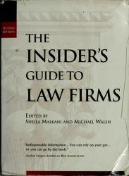 Cover of: The Insider's Guide to Law Firms | Sheila Malkerri